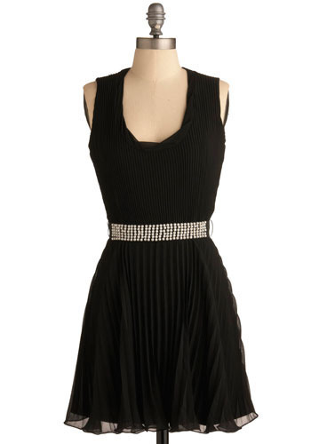 Pearl Reason Dress - Black, Solid, Pearls, Wedding, Party, A-line, Sleeveless, Mid-length