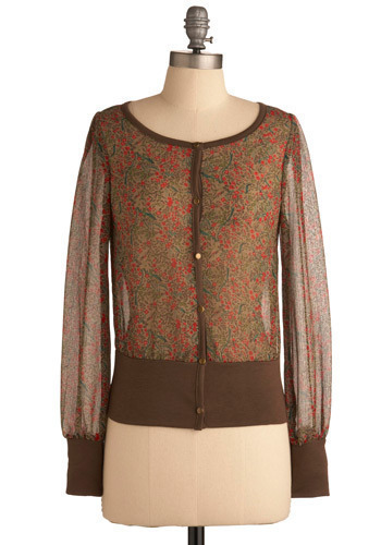 Chiffon and On Cardigan - Brown, Multi, Red, Orange, Green, Blue, Floral, Buttons, Work, Casual, Long Sleeve, Fall, Short