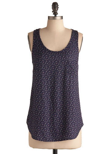 Armful of Flowers Top - Purple, Blue, Pink, White, Floral, Casual, Tank top (2 thick straps), Mid-length