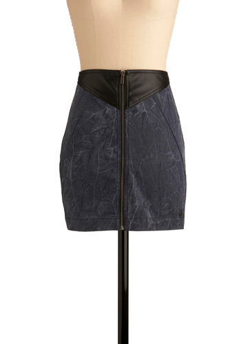 Simply Thunderstruck Skirt by Gentle Fawn - Blue, Black, Exposed zipper, Casual, Short