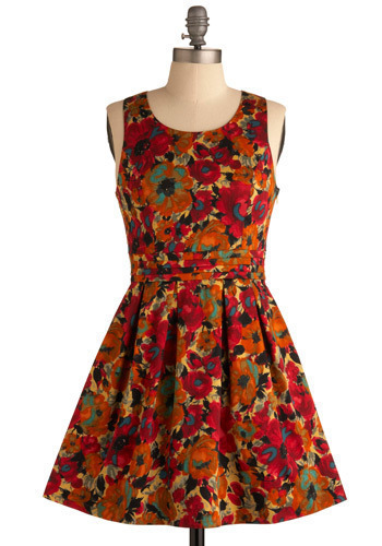 Inviting You to Play Dress by Jack by BB Dakota - Red, Orange, Multi, Floral, Cutout, Pleats, Casual, A-line, Tank top (2 thick straps), Spring, Summer, Short