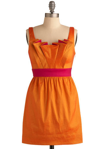 Fan the Fire Dress - Orange, Pink, Bows, Cutout, Party, Shift, Tank top (2 thick straps), Short