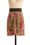Blooming on the Horizon Skirt - Brown, Multi, Yellow, Green, Pink, Tan / Cream, Black, Floral, Casual, Wrap, Spring, Summer, Short