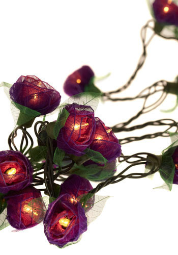 In Rose and Columns String Lights in Lavender - Green, Purple