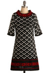 Up In the Alps Dress - Black, Red, White, Print, Knitted, Casual, A-line, 3/4 Sleeve, Short