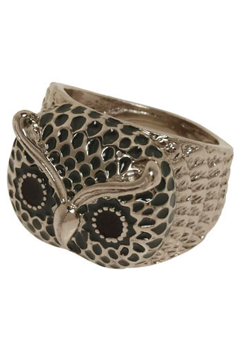 Too Hoot to Handle Ring - Silver, Black, Casual, Owls