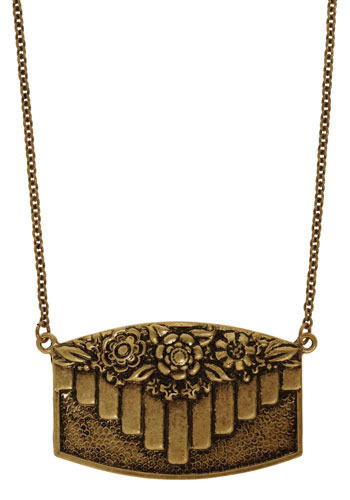 Art De-grow Necklace - Gold, Flower, Casual, Vintage Inspired, 20s, 30s, 40s