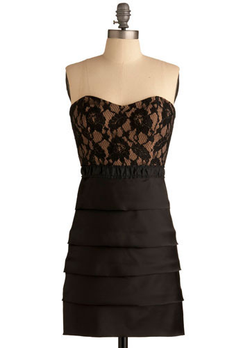 Burgeoning Beauty Dress - Black, Floral, Lace, Wedding, Party, Shift, Strapless, Short, Tiered