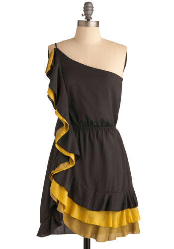 Double Date Dress - Grey, Yellow, Solid, Ruffles, Tiered, Party, Casual, A-line, Mini, Spaghetti Straps, One Shoulder, Spring, Summer, Short