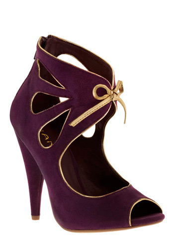 Doe Deere Heel - Purple, Gold, Bows, Cutout, Trim, Special Occasion, Prom, Wedding, Party, Statement