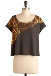 Strike Copper Top - Grey, Copper, Print, Casual, Short Sleeves, Spring, Summer, Short