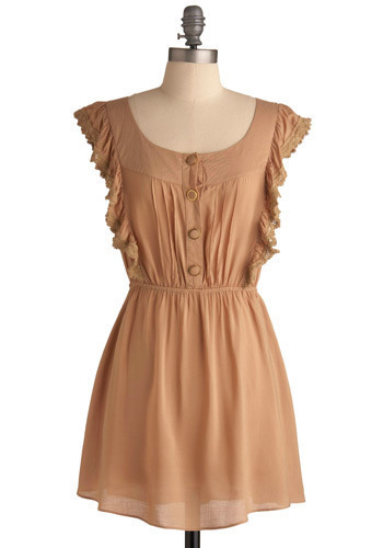 Macciato Dress - Tan, Solid, Lace, Ruffles, Casual, A-line, Short Sleeves, Short