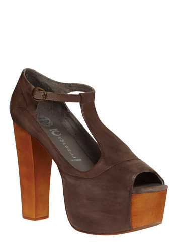 Skyline View Heel by Jeffrey Campbell - Brown, Solid, Buckles, Cutout, Party, Casual, High, Best, Platform, Chunky heel, T-Strap