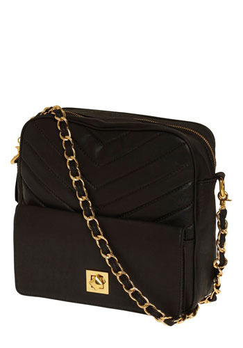 Chic Street Shoulder Bag - Black, Gold, Solid, Chain, Quilted, Casual, Urban
