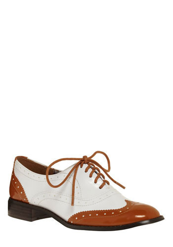 Wind Beneath Your Wingtip Flat in Toffee - White, Casual, Menswear Inspired, Brown, Party, Work