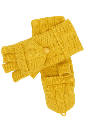Under the Cable Knit Gloves in Yellow by Tulle Clothing