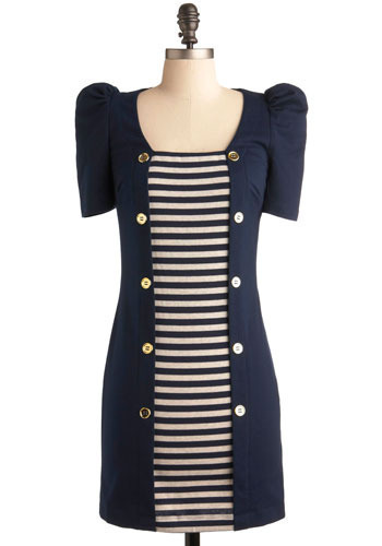 Shipshape Up Dress - Blue, White, Stripes, Buttons, Casual, Sheath / Shift, 3/4 Sleeve, Short