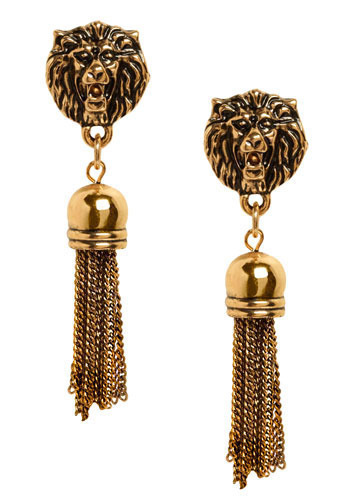 I Ain't Lion Earrings - Gold, Tassles