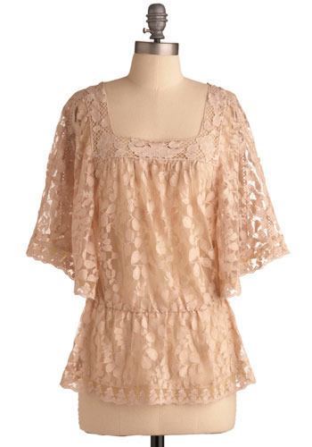 Caught My Eye Top - Pink, Floral, Lace, Party, Casual, 3/4 Sleeve, Mid-length