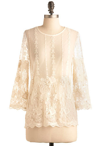 Sheer Romance Top in Ivory - White, Floral, Embroidery, Scallops, Casual, 3/4 Sleeve, Mid-length