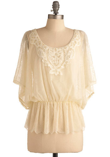 Urban Angel Top - Cream, Floral, Lace, Party, Work, Casual, 3/4 Sleeve, Mid-length