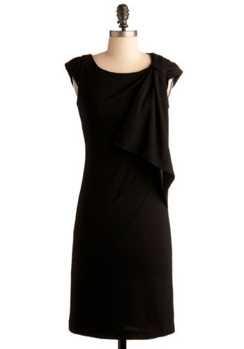 We've Come So Noir Dress - Black, Solid, Formal, Wedding, Party, Sheath / Shift, Cap Sleeves, Mid-length