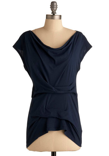 Waterfall Into Love with Me Top - Blue, Solid, Short Sleeves, Mid-length