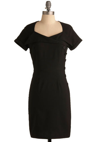 Fontana di Trevi Dress - Black, Solid, Buttons, Party, Work, Vintage Inspired, Shift, Short Sleeves, Mid-length, LBD