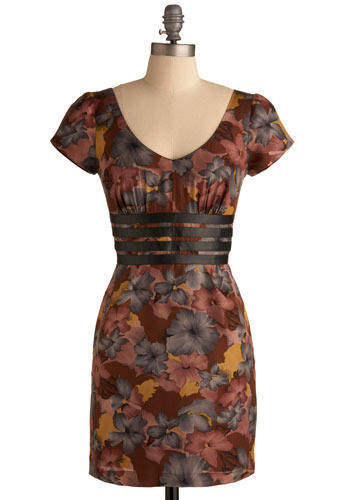 Terrace House Dress - Yellow, Pink, Brown, Grey, Floral, Casual, Sheath / Shift, Short Sleeves, Short