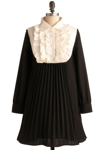 Swinging Sixties Dress - Black, White, Pleats, Ruffles, Work, Casual, Empire, Long Sleeve, Short