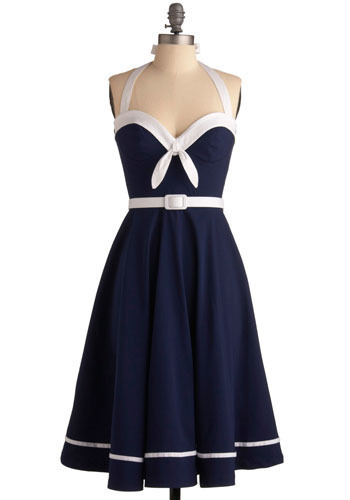 Sailing into the Sunset Dress by Pinup Couture - Blue, White, Bows, Casual, Nautical, A-line, Halter, Spring, Summer, Mid-length