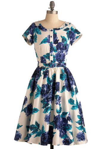 Rose Menagerie Dress - Blue, White, Floral, Party, Casual, A-line, Short Sleeves, Spring, Summer, Long