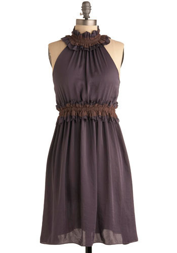 Mendocino Dress - Purple, Brown, Ruffles, Casual, A-line, Halter, Racerback, Mid-length
