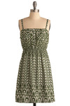 Garden of Sweden Dress - Green, White, Print, Casual, A-line, Spaghetti Straps, Spring, Summer, Mid-length