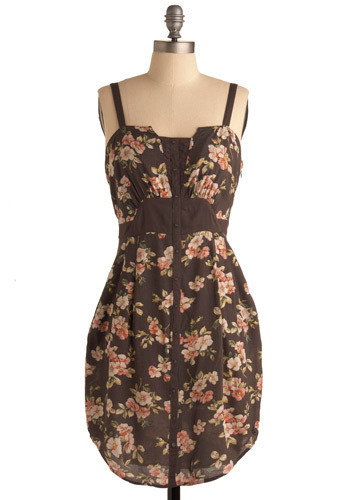 Gal Pal Dress by Gentle Fawn - Brown, Green, Pink, Floral, Casual, Shift, Tank top (2 thick straps), Spring, Summer, Mid-length