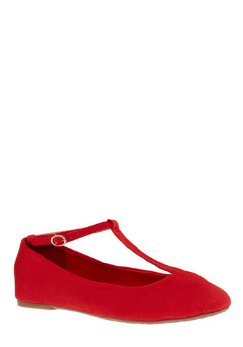 Siblings Flat in Little Sis - Red, Solid, Buckles, Cutout, Casual