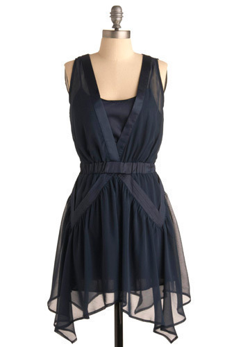 At the Mariinsky Theater Dress - Blue, Solid, Casual, A-line, Sleeveless, Short