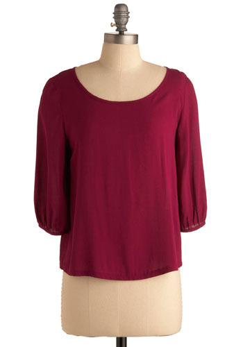Rose to the Occasion Top - Red, Purple, Solid, Casual, 3/4 Sleeve, Mid-length