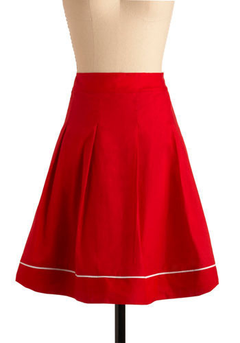 In the Marketplace Skirt - Red, Solid, Pleats, Trim, Casual, Vintage Inspired, A-line, Spring, Summer, Mid-length