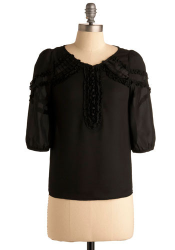 Silent Sustained Reading Top - Black, Solid, Ruffles, Casual, 3/4 Sleeve, Mid-length