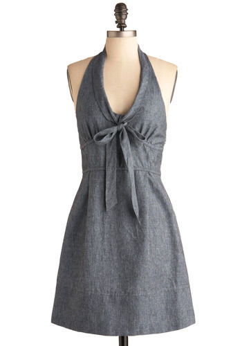 Meet Me at the Halter Dress - Grey, Solid, Bows, Casual, A-line, Halter, Mid-length