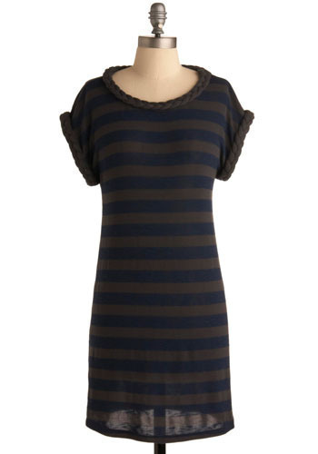 Sample 450 - Blue, Grey, Stripes, Braided, Knitted, Casual, Sweater Dress, Short Sleeves