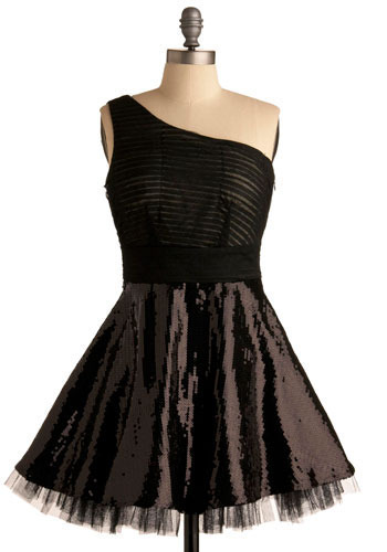 More Than Just Romance Dress - Black, Solid, Pleats, Sequins, Formal, Prom, Party, A-line, One Shoulder, Short