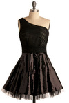More Than Just Romance Dress - Black, Solid, Pleats, Sequins, Special Occasion, Prom, Party, A-line, One Shoulder, Short