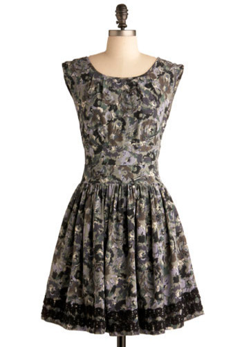 Down in the Valley Dress by Darling - Black, Grey, Multi, Floral, Lace, Wedding, Party, A-line, Cap Sleeves, Short