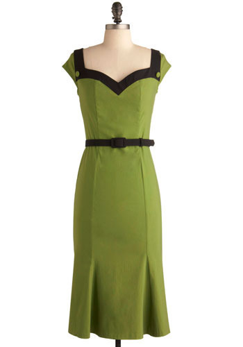 Grasshopper Pie Dress by Pinup Couture - Green, Black, Pleats, Wedding, Party, Work, Sheath / Shift, Cap Sleeves, Long