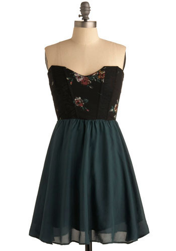 True Fantasy Dress - Green, Black, Red, Floral, Casual, Empire, Twofer, Strapless, Mid-length