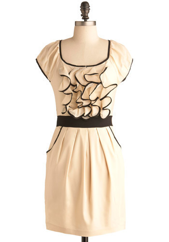 Gentle Dawn Dress - Cream, Black, Pleats, Ruffles, Party, Sheath / Shift, Short Sleeves, Mid-length