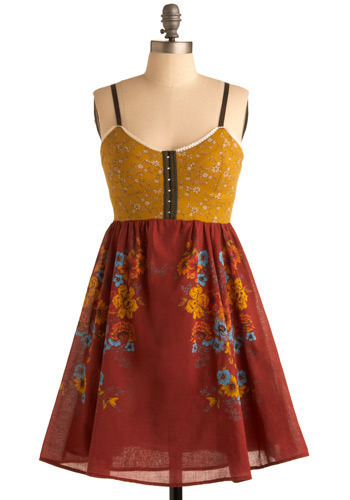 Coming Up Wildflowers Dress - Red, Yellow, Multi, Floral, Casual, A-line, Twofer, Spaghetti Straps, Mid-length