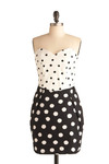 Opposites Interact Dress by Motel - Black, White, Polka Dots, Party, Casual, Vintage Inspired, Sheath / Shift, Strapless, Mid-length